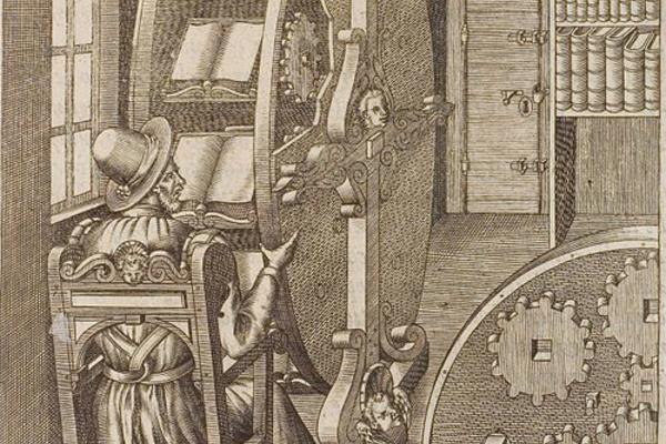 Bookwheel, from Agostino Ramelli's Le diverse et artificiose machine, 1588