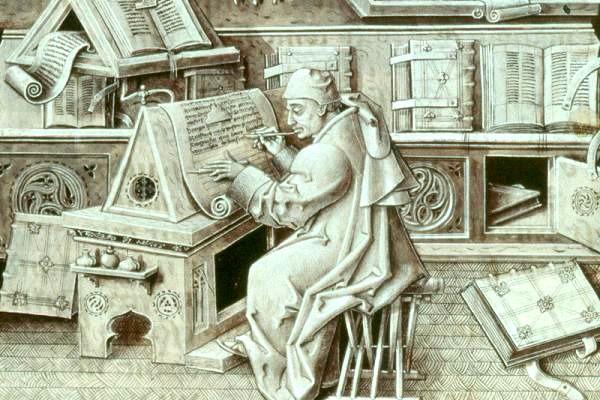Jean Miélot a scribe at work
