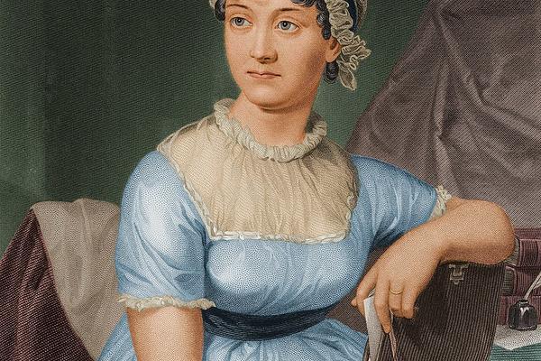 Colourized version of engraved portrait of Jane Austen